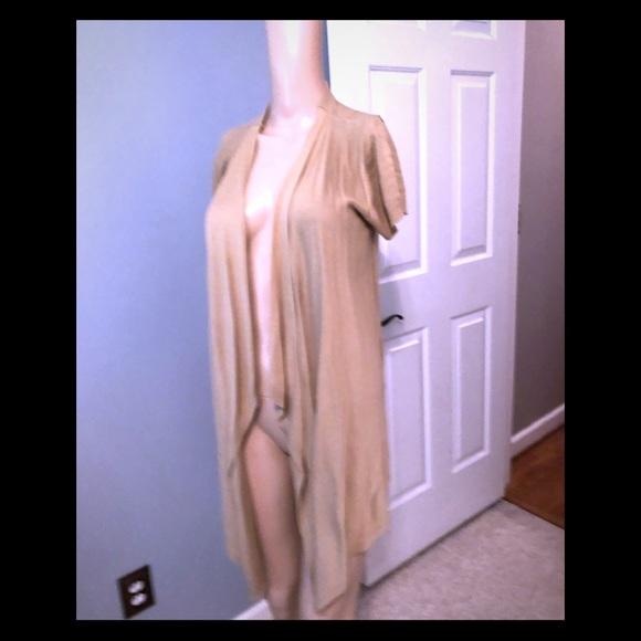 Michael Kors Sweaters - Michael Kors Tan open front cardi Sz S